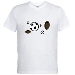 Męska koszulka V-neck Piłki do gier