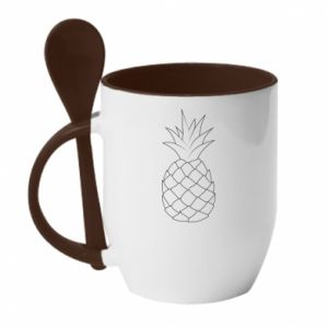 Kubek z ceramiczną łyżeczką Pineapple contour