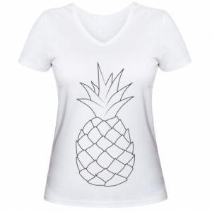 Damska koszulka V-neck Pineapple contour