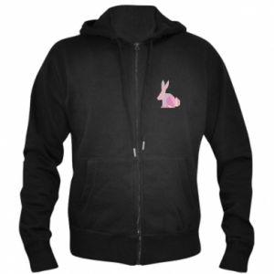 Męska bluza z kapturem na zamek Pink Bunny Abstraction