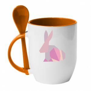 Kubek z ceramiczną łyżeczką Pink Bunny Abstraction