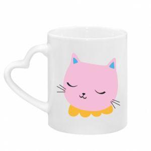 Kubek z uchwytem w kształcie serca Pink cat