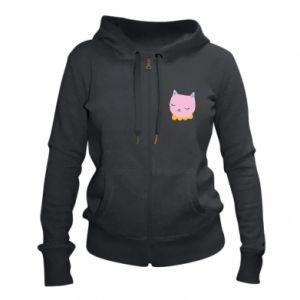 Women's zip up hoodies Pink cat - PrintSalon