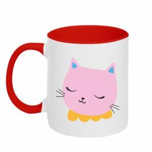 Two-toned mug Pink cat - PrintSalon
