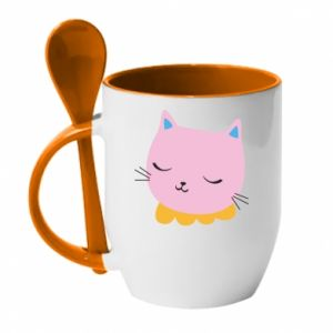 Mug with ceramic spoon Pink cat - PrintSalon