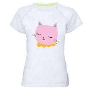 Women's sports t-shirt Pink cat - PrintSalon