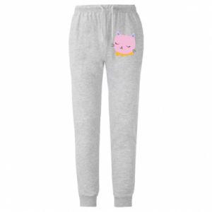 Męskie spodnie lekkie Pink cat - PrintSalon