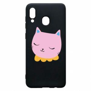 Phone case for Samsung A20 Pink cat - PrintSalon