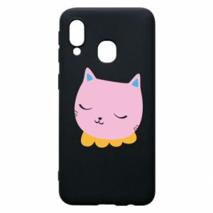 Phone case for Samsung A40 Pink cat - PrintSalon