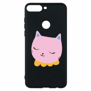 Phone case for Huawei Y7 Prime 2018 Pink cat - PrintSalon