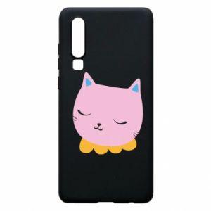 Phone case for Huawei P30 Pink cat - PrintSalon