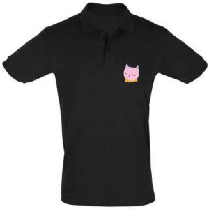 Men's Polo shirt Pink cat - PrintSalon