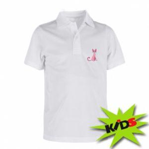 Koszulka polo dziecięca Pink eared cat