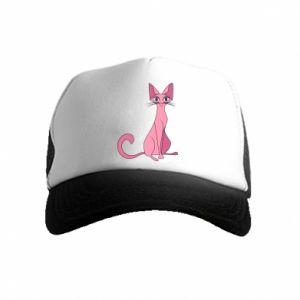 Czapka trucker dziecięca Pink eared cat
