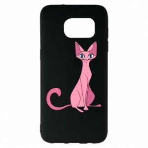 Etui na Samsung S7 EDGE Pink eared cat
