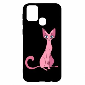 Etui na Samsung M31 Pink eared cat