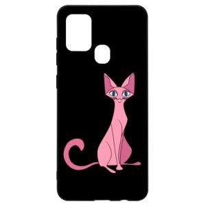 Etui na Samsung A21s Pink eared cat