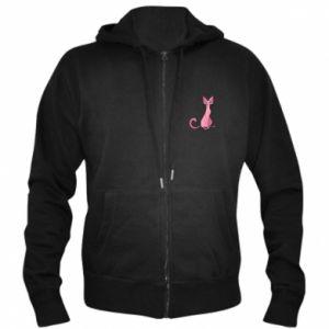 Męska bluza z kapturem na zamek Pink eared cat - PrintSalon