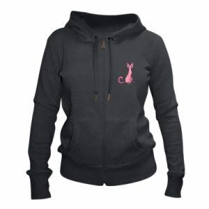 Damska bluza na zamek Pink eared cat - PrintSalon