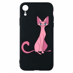 Etui na iPhone XR Pink eared cat