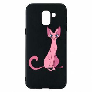 Etui na Samsung J6 Pink eared cat
