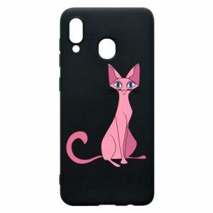 Etui na Samsung A20 Pink eared cat