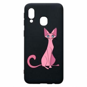 Etui na Samsung A40 Pink eared cat