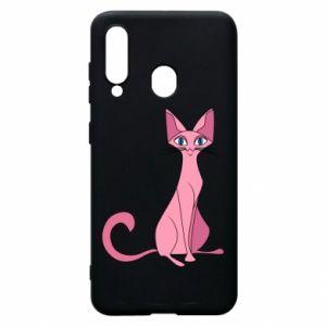Etui na Samsung A60 Pink eared cat