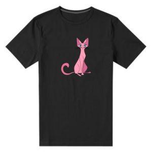 Męska premium koszulka Pink eared cat - PrintSalon