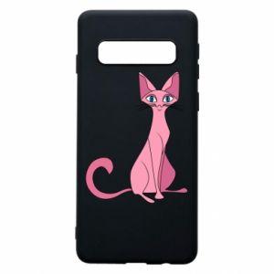 Etui na Samsung S10 Pink eared cat