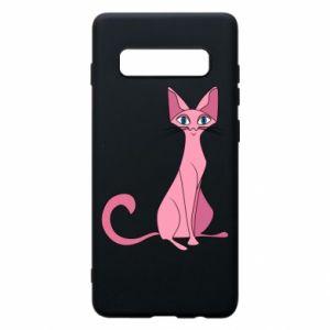 Etui na Samsung S10+ Pink eared cat