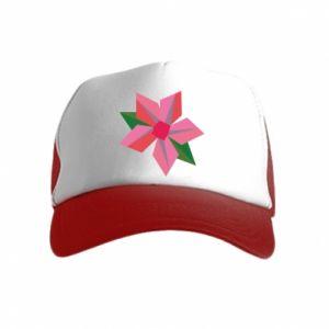 Czapka trucker dziecięca Pink flower abstraction