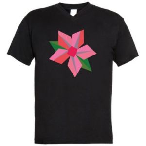 Męska koszulka V-neck Pink flower abstraction