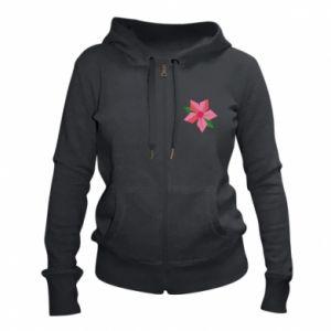 Women's zip up hoodies Pink flower abstraction - PrintSalon