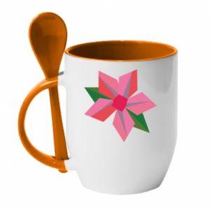Mug with ceramic spoon Pink flower abstraction - PrintSalon