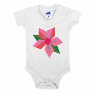 Baby bodysuit Pink flower abstraction - PrintSalon