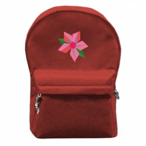 Backpack with front pocket Pink flower abstraction - PrintSalon