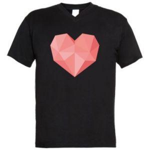Men's V-neck t-shirt Pink heart graphics - PrintSalon