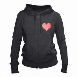 Women's zip up hoodies Pink heart graphics - PrintSalon