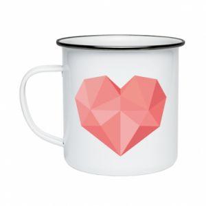 Kubek emaliowany Pink heart graphics