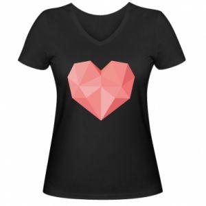 Women's V-neck t-shirt Pink heart graphics - PrintSalon