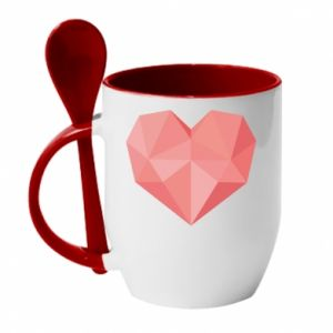 Mug with ceramic spoon Pink heart graphics - PrintSalon