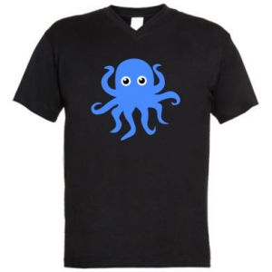 Men's V-neck t-shirt Blue octopus - PrintSalon