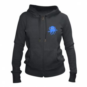 Women's zip up hoodies Blue octopus - PrintSalon