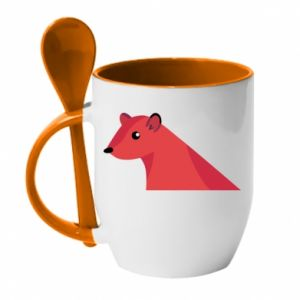 Mug with ceramic spoon Pink Mongoose - PrintSalon