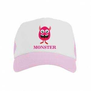Kid's Trucker Hat Pink monster