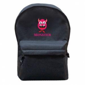 Plecak z przednią kieszenią Pink monster