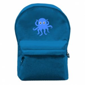 Backpack with front pocket Blue octopus - PrintSalon