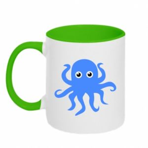 Two-toned mug Blue octopus - PrintSalon