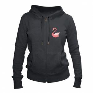 Women's zip up hoodies Pink swan swims - PrintSalon